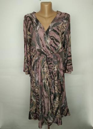 Платье итальянское стильное натуральное на запах в анималистич...