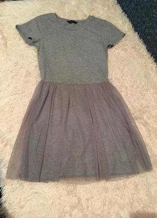 Платье серое фатин хлопковое летнее inrernacional