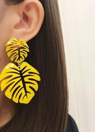 🏵стильные эффектные модные серьги пальмовые листья, новые! арт...