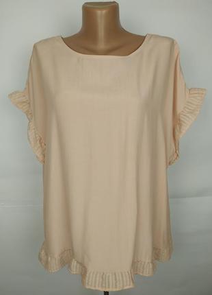 Блуза новая натуральная кремовая красивая tu uk 16/44/xl