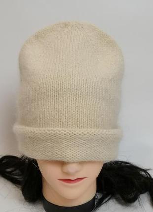 #розвантажуюсь пушистая теплая шапка бини из пуха норки