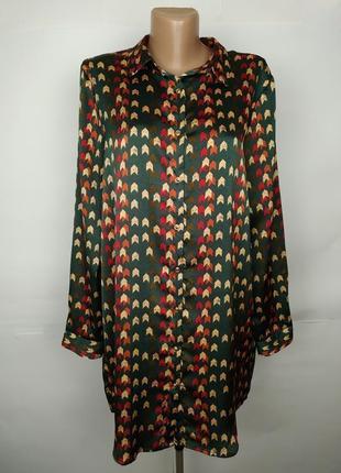 Платье рубашка модное в принт гусиные лапки uk 8/36/xs