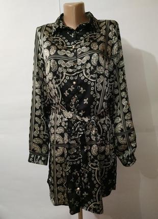 Платье рубашка новое стильное под пояс new look uk 12/40/m