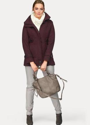 Брендовое твидовое демисезонное пальто с карманами boysen's ge...