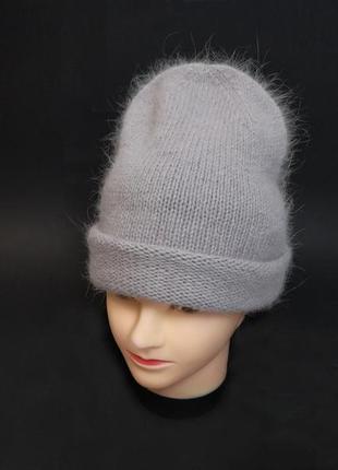 #розвантажуюсь шапка  бини хамелеон лавандово-серый ангора кролик