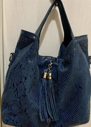 Кожаная сумка красивый цвет натуральная кожа
