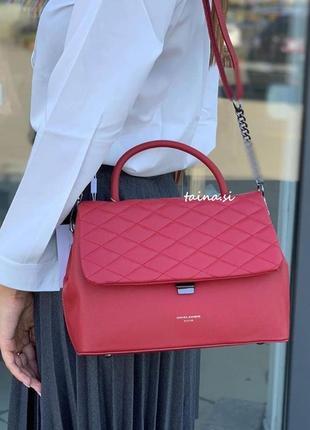Клатч david jones cm5427 d. red оригинал красная стеганая сумка