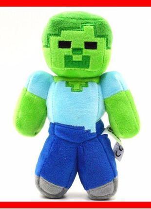 Зомби из игры Майнкрафт 17/25 см мягкая плюшевая игрушка Minec...