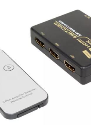 HDMI свитч 4K с пультом переключает с 3 входов на 1 экран ТВ s...