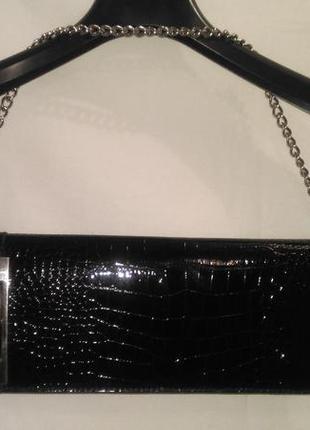 Супер клатч черный  лаковый под крокодиловую  кожу (реальный т...