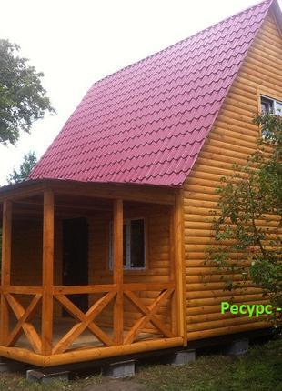 Домик дачный 6мх6м с мансардой и терассой