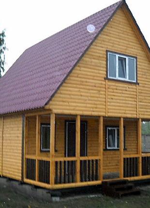Дачный домик 6м х 6м из блокхауса с мансардой и террассой Подр...