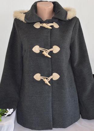 Брендовое серое демисезонное пальто полупальто дафлкот с мехов...