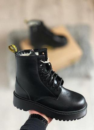 Dr martens jadon black mono зимние женские меховые ботинки/осе...