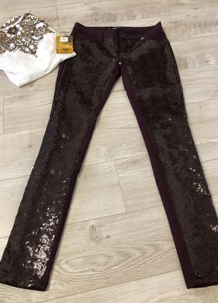 Штаны брюки вышитые паетки размер 36(s) марсала бардо