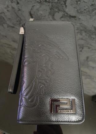 Стильный мужской клатч- портмоне- кошелёк- барсетка из натурал...