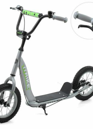 Детский двухколесный самокат с надувными резиновыми колесами и...