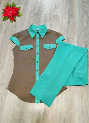 Комплект бирюзовая рубашка и брюки