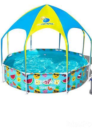 Каркасный бассейн Bestway 56432-3, 244 x 51 см навес, душ (2 0...