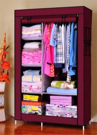 Тканевый шкаф 2 секции Storage Wardrobe HCX 88105 коричневый