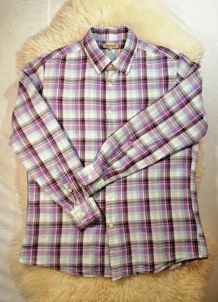 Рубашка uniqlo с длинным рукавом в клетку с добавлением льна l