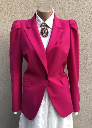 Малиновый,красный жакет,пиджак,блейзер,zara,вискоза,