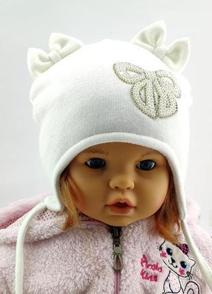 Детская шапка с ушками ангоровая теплая