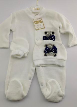 Нарядный человечек для новорожденного велюр