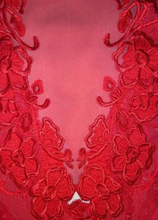 Платье красное вечернее атлас и кружево р.46