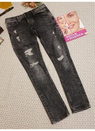 Рваные черные джинсы скини denim co на пуговицах