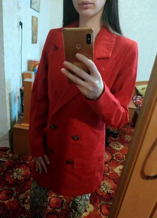 Тёплое шерстяное пальто пиджак прямого кроя