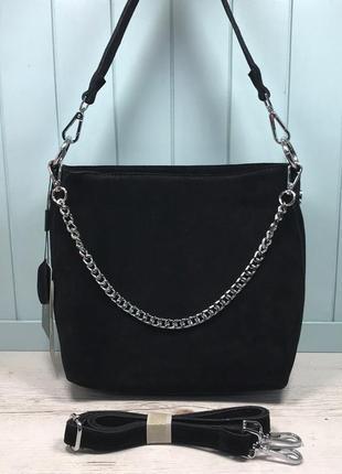 Женская замшевая сумка черная farfalla rosso жіноча замшева