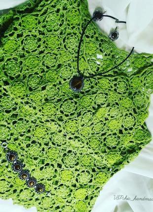 Вязаное крючком вечернее платье «Весна»