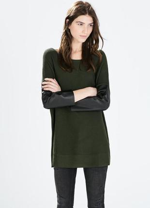 Фактурный свитер хаки с кожаными рукавами zara knit