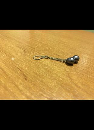 Серебряные серьги с речным жемчугом