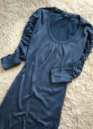 Шикарное,нарядное платье,в синем цвете.,шерсть,кашемир.