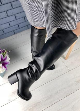 Lux обувь! идеальные кожаные высокие сапоги на удобном устойчи...