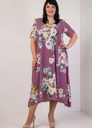 Платье нарядное  с цветами 54-56-58-60