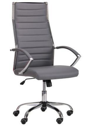 Кресло руководителя компьютерное, серый кожзам