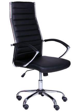 Кресло офисное руководителя, черный кожзам