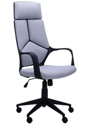 Кресло офисное руководителя, светло-серая обивка, ткань