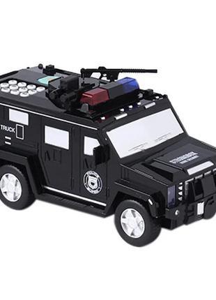 Детский сейф с кодом и отпечатком пальца в виде полицейской ма...