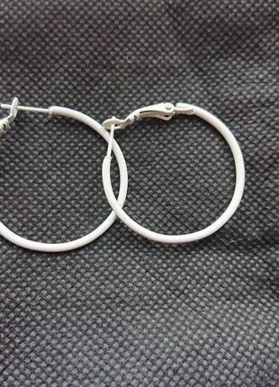 Серьги кольца, круглые белые, 3 см