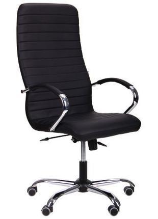 Кресло офисное руководителя, темный кожзам