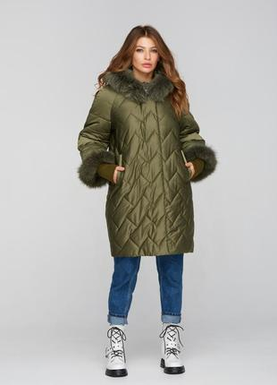 Куртка зимняя с манжетами хаки атлас