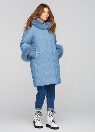 Куртка зимняя с манжетами голубой