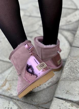 Ugg metallic pink! женские замшевые зимние угги/ сапоги/ ботин...