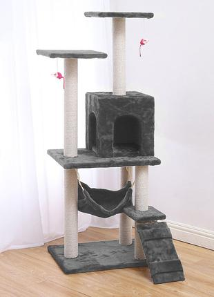 Когтеточка-домик для кота Taotaopets 047707 Grey дряпка 140*54...