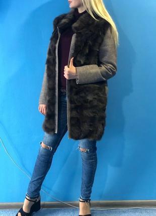 Шуба-пальто из соболя и кашемира STEFANO