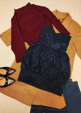 Хлопковое платье корсет синее мини плащевка вечернее коктейльное